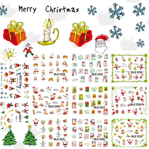1 set 11 designs Christmas Nail Decals Water Transfer Foil Nail Art Sticker Nails Wraps Manicure Decor Tools SABLE2325-2335 03 000882 01p replacement projector bare lamp for christie lx40 lx50