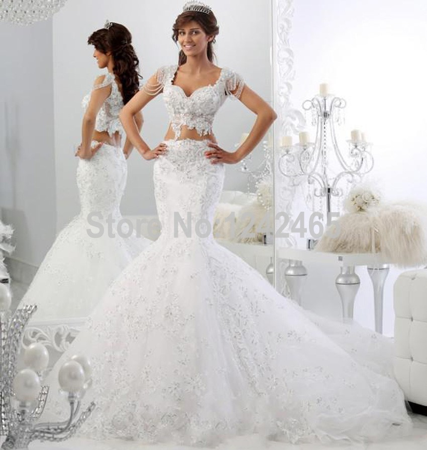 Sexy cap sleeve robe de mariage bridal dress mermaid v for One arm wedding dresses