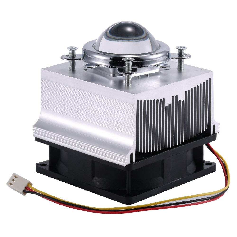 Aluminum Heatsink Cooling Fan Set + 44mm Optical Glass Lens + Reflector Bracket For 20W - 50W LED 60 Degree Or 30-120 Degree