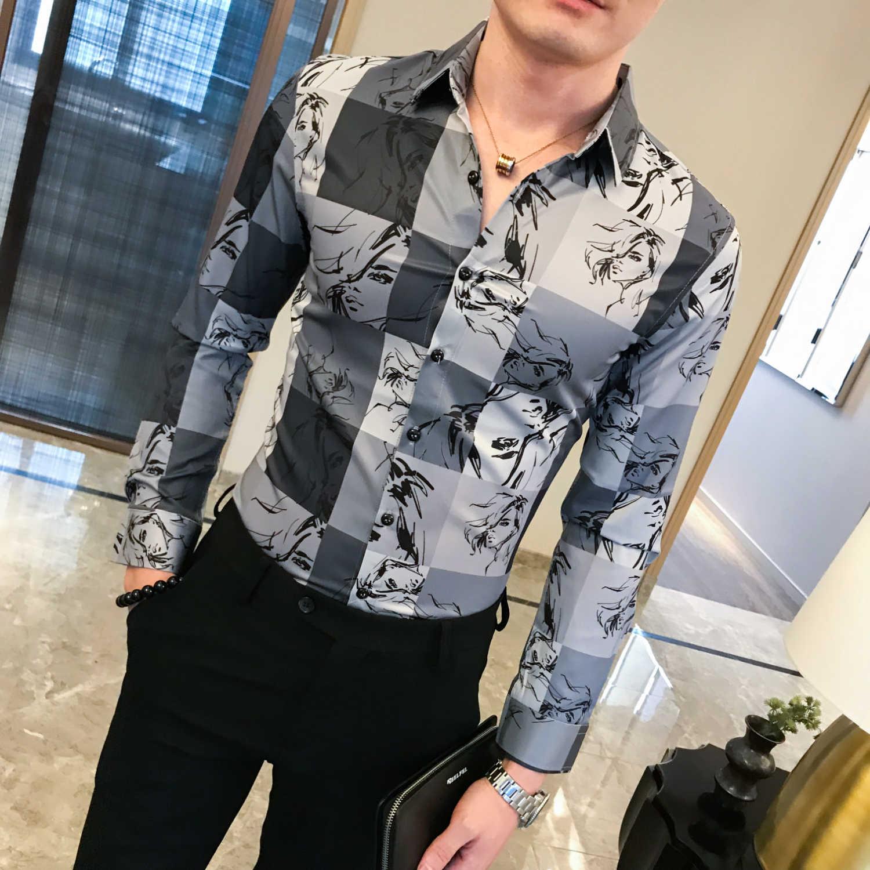 格子プリントシャツ男性ナイトクラブ衣装社会花シャツメンズ長袖スリムフィット男性のデザイナーのドレスシャツ 2019 秋