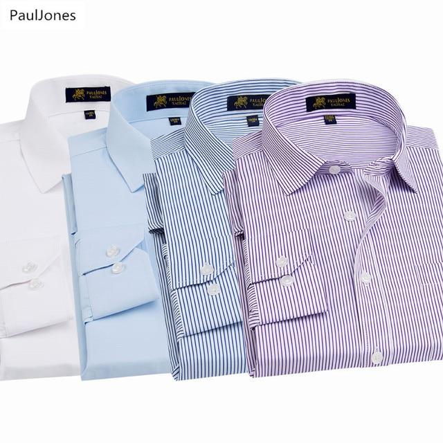 37e63cde32f0 Autunno di Lusso di Qualità Manica Lunga Da Uomo Camicie di Cotone Bianco  Nero Classic Social