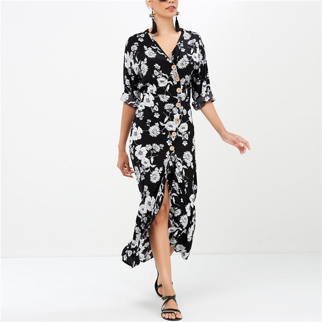 875921f6b1f30 2019 Spring Chiffon Dress Women Floral Print Boho Beach Long Maxi Dress  Sexy V Neck Split Office Party Dress Robe Femme Vestidos