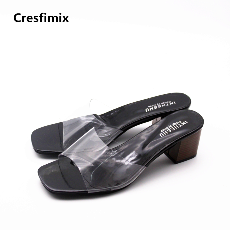 Cresfimix sandalias de mujer women fashion spring & summer slip on high heel sandals lady comfortable transparent cute sandals cresfimix sandalias de mujer women fashion black beach flat sandals lady cute solid comfortable plus size sandals with crystal