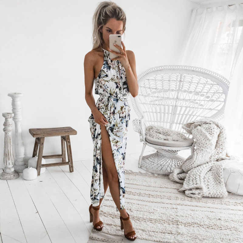 792062ae98 DeRuiLaDy 2018 Boho Floral Print Straps Long Dress Women Sexy Backless Summer  Beach Maxi Dresses Womens