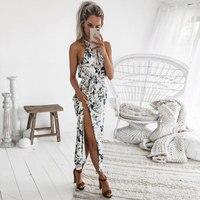 DeRuiLaDy 2018 Boho Цветочный Принт бретели для нижнего белья длинное платье для женщин Сексуальная спинки летние пляжные макси платья s повседн