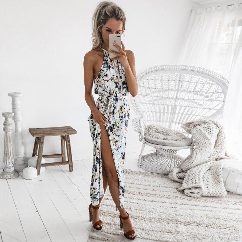 DeRuiLaDy 2018 Boho Floral Print Halter Long Dress Women Sexy Backless Summer Beach Maxi Dresses Womens Casual Vestidos Femme