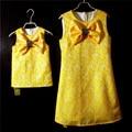 Женщины brand design бабочкой тонкий девушки карандаш платье Без Рукавов сарафан семьи сопоставления одежда мать и дочь платья