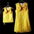 Mulheres de design da marca bowtie meninas magras lápis partido vestido Sem Mangas vestido de verão da família roupas combinando vestidos de mãe e filha