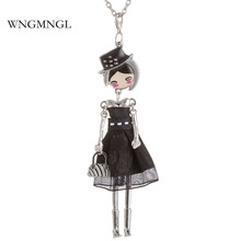 WNGMNGL New 5 Colors Charm Embroidery Dress Handbag Cute Doll Pendant Long Chain Necklace For Women 2018 Fashion Jewelry Gift