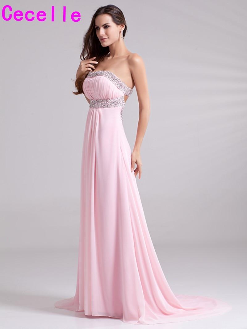 d09c454546 Vestidos de Noche formales largos de línea a rosados para adolescentes  plisados de chifón Sexy espalda abierta para niñas vestidos formales de  fiesta de ...