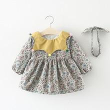 2018 Kids girls new winter thick Dress Baby girls cute floral print velvet warm Dress with Headband 1-3 Years !