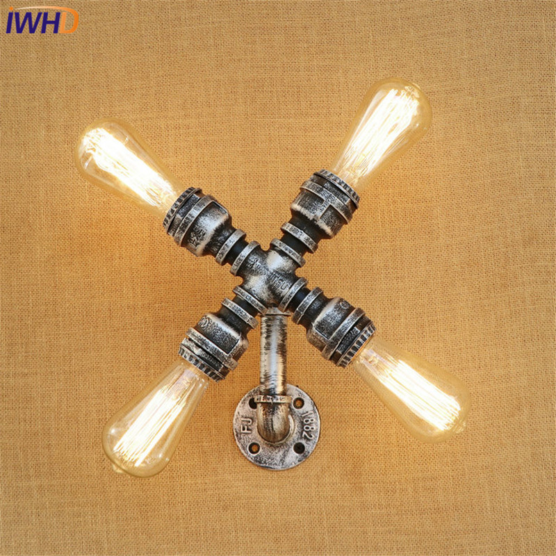 IWHD American Loft Style Metal Water Pipe Lamp Edison Wall Sconce Industrial Vintage Wall Light Fixtures Indoor Lighting