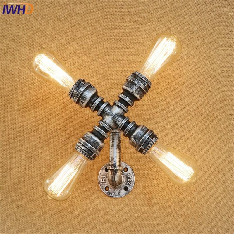 купить IWHD American Loft Style Metal Water Pipe Lamp Edison Wall Sconce Industrial Vintage Wall Light Fixtures Indoor Lighting по цене 4841.42 рублей