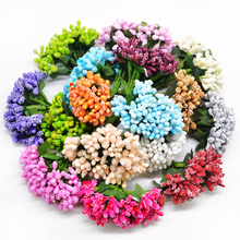 12Pcs/lot Handcraft Artificial Flowers Stamen Sugar Wedding Party Decoration DIY Wreath Gift Box Scrapbooking Cheap Fake