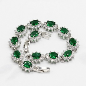 Image 5 - Green Crystal Silver Color Bridal Jewelry Sets For Women Necklace Pendant Bracelets Earrings Rings Gift Box