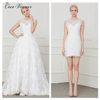 C V Fashion Two In One A Line Wedding Dresses 2018 Detechable Tail Embroidery Plus Size