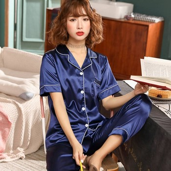Pajamas Women Satin Set 2019 Spring Summer Short Sleeves Long Pants Ladies Silk Men Sleepwear Nightwear