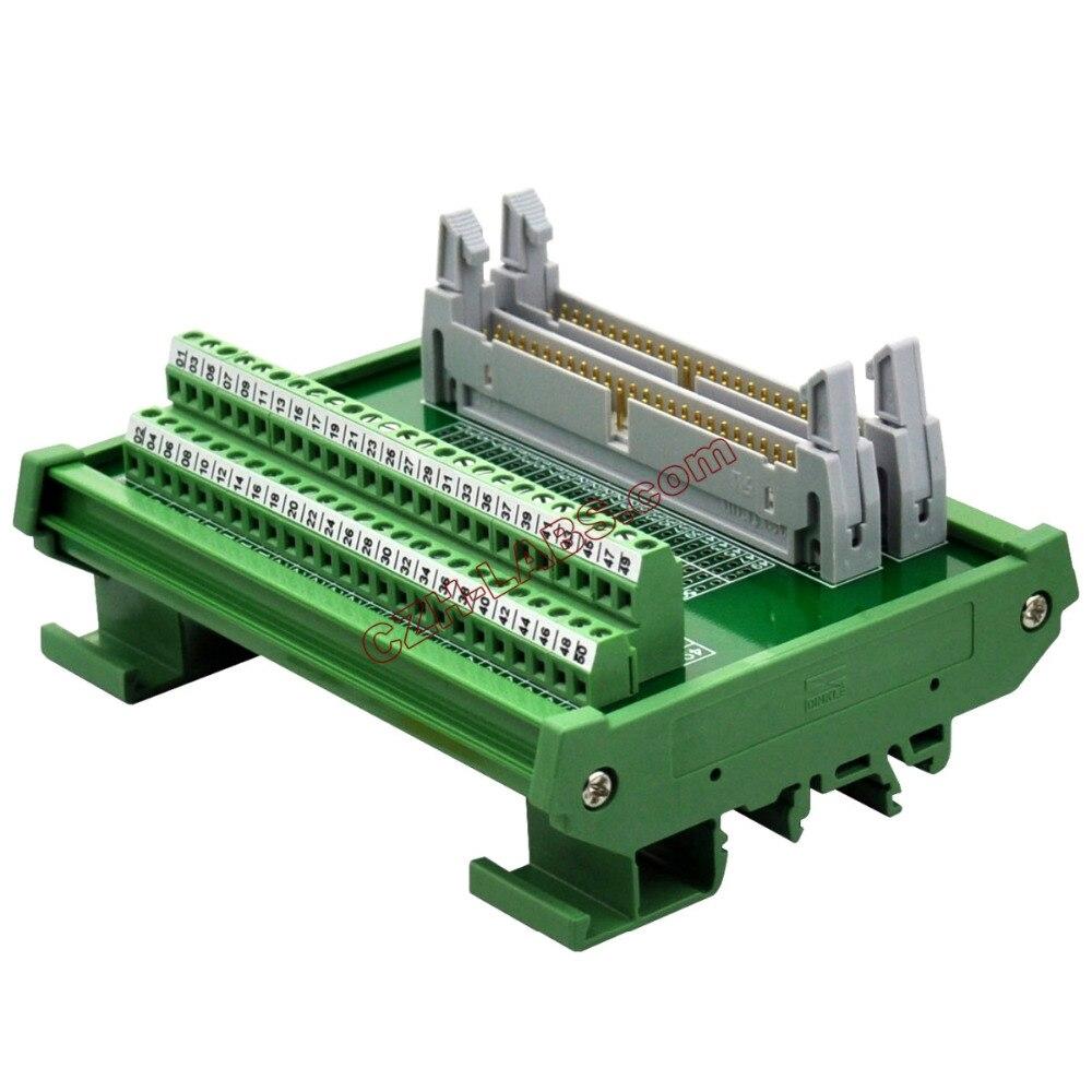 CZH-LABS DIN Rail Mount Dual IDC50 Pitch 2.54mm Male Header Interface Module Breakout Board.CZH-LABS DIN Rail Mount Dual IDC50 Pitch 2.54mm Male Header Interface Module Breakout Board.