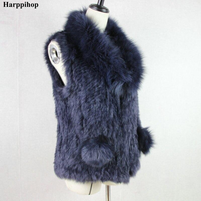 Nouveau style femmes naturel véritable fourrure de lapin gilet avec grand col de fourrure de raton laveur pont sur poche gilet/vestes lapin tricoté hiver
