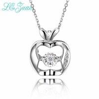 L Zuan 0 025ct Diamond Pendant Necklaces For Women New Apple Shape 18K Platinum Wedding Engagement