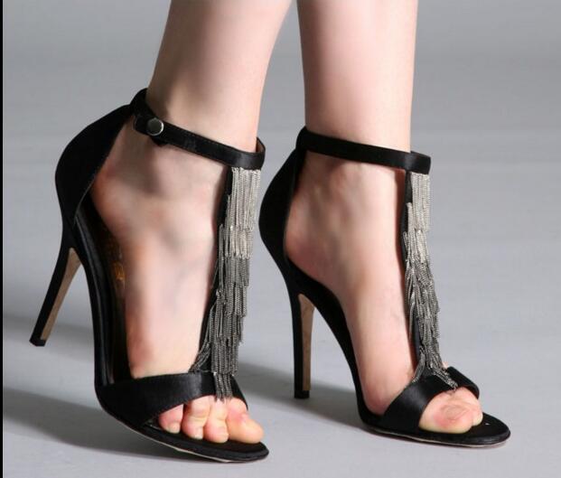 2017 Superstar Love Most Woman Shoes Stiletto High Heels Black Blue Color Summer Sandals For Your Selection Fringe Decoration