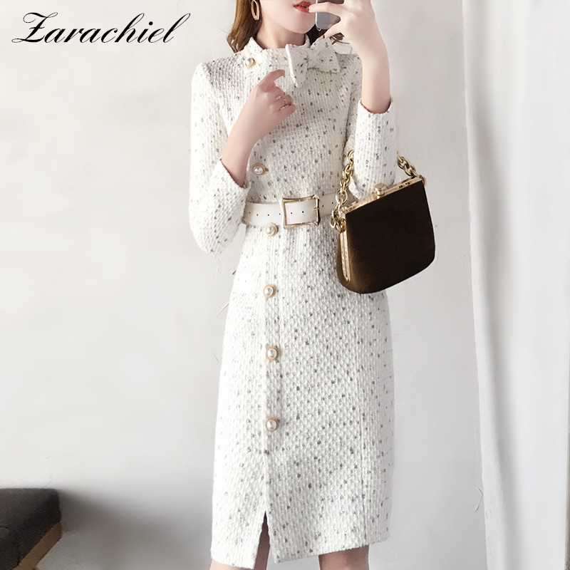 Brand Wool Women Elegant Package Hip Dress Vestidos Pearl Single-breasted Tweed Dress Bow Stand Collar Long Sleeve Sashes Dress