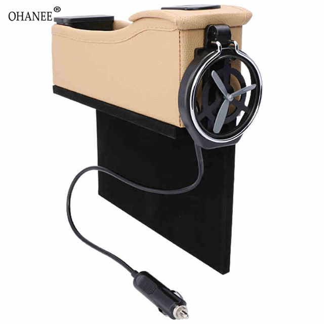 OHANEE Universal Car Seat Organizer Gap With Cup Holder Crevice Storage Box Cigarette Lighter USB