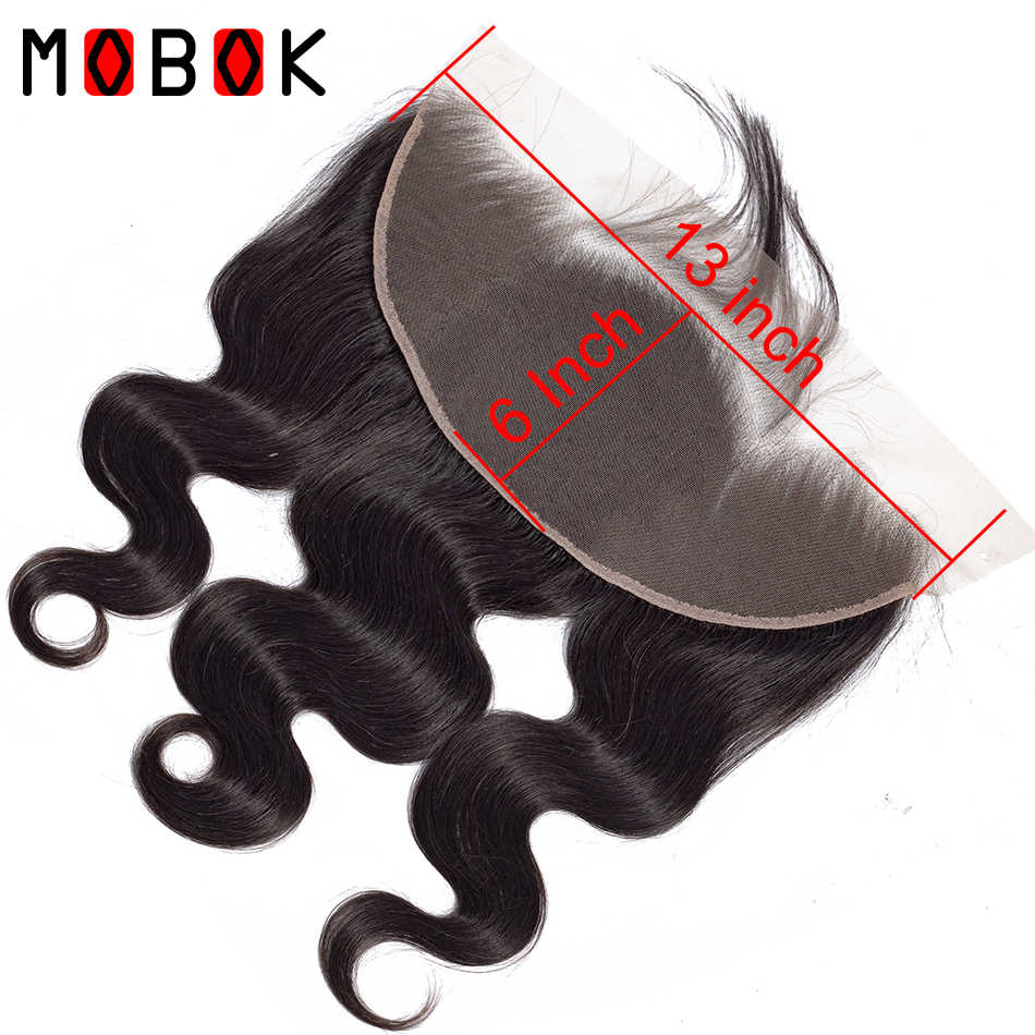 MOBOK Hair Brazilian Body Wave Lace Frontal 13x4 Swiss Lace Medium Brown Lace Frontals 100% Unprocessed Human Hair Closure Front