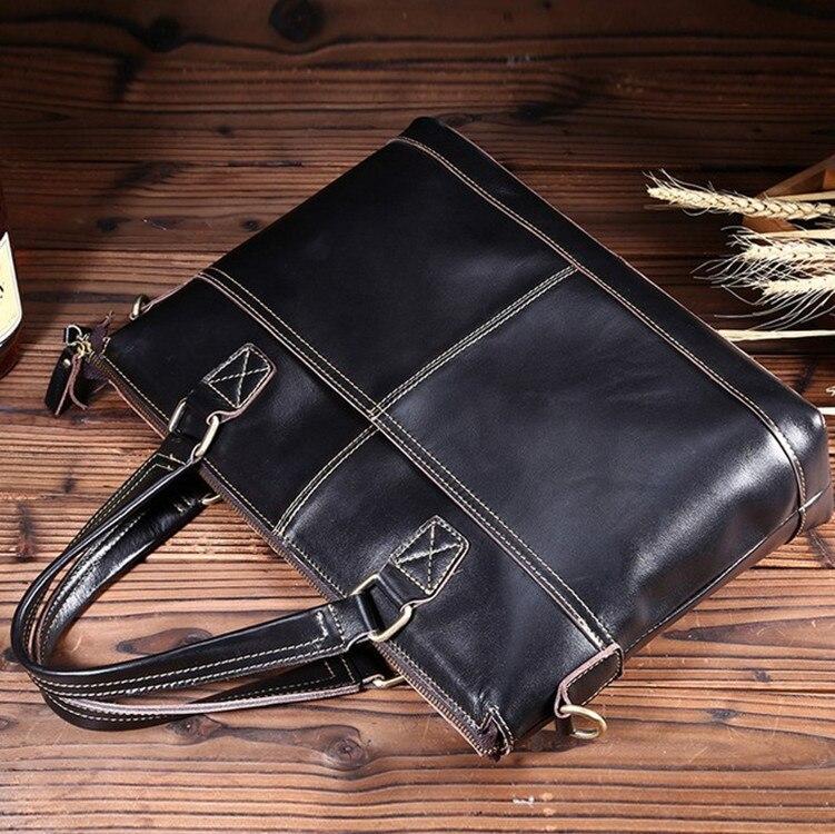 B Retro Cow leather Handbag briefcase shoulder bag solid color portable diagonal postman bucket bag
