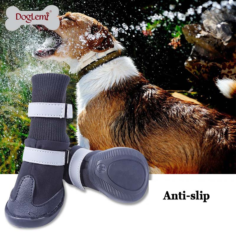 Large Big Dog PU leather sport Shoes Winter Waterproof Pet dog Puppy Martin boots non-slip pitbull golden retriever rain shoes