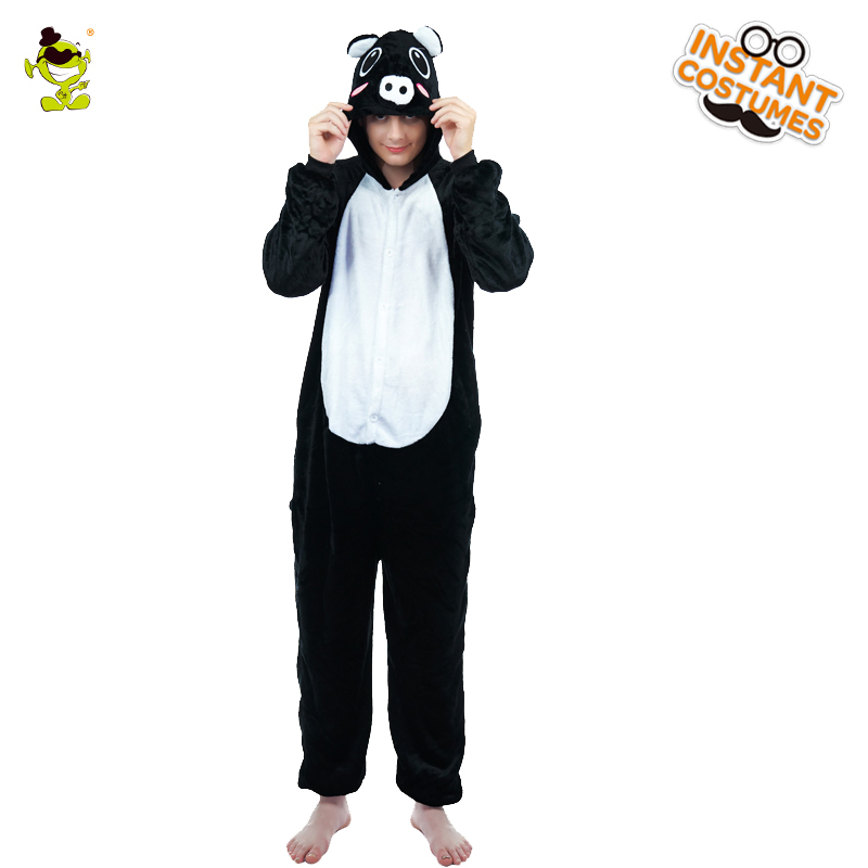 2018 Winter Men's Animal Pig Costume Cosplay Cute Black Pajamas Sleepwear Masquerade Cartoon for Adult  Pajamas Costume Party