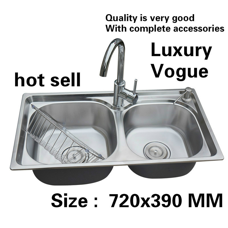 Free shipping Standard fashion kitchen double groove sink wash the dishes 304 food grade stainless steel hot sell 720x390 MMFree shipping Standard fashion kitchen double groove sink wash the dishes 304 food grade stainless steel hot sell 720x390 MM