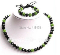 Free Shipping Fashion Long Shamballa Rosary Necklace Shamballa Bracelect And Earrings Crystal And Black Beads New