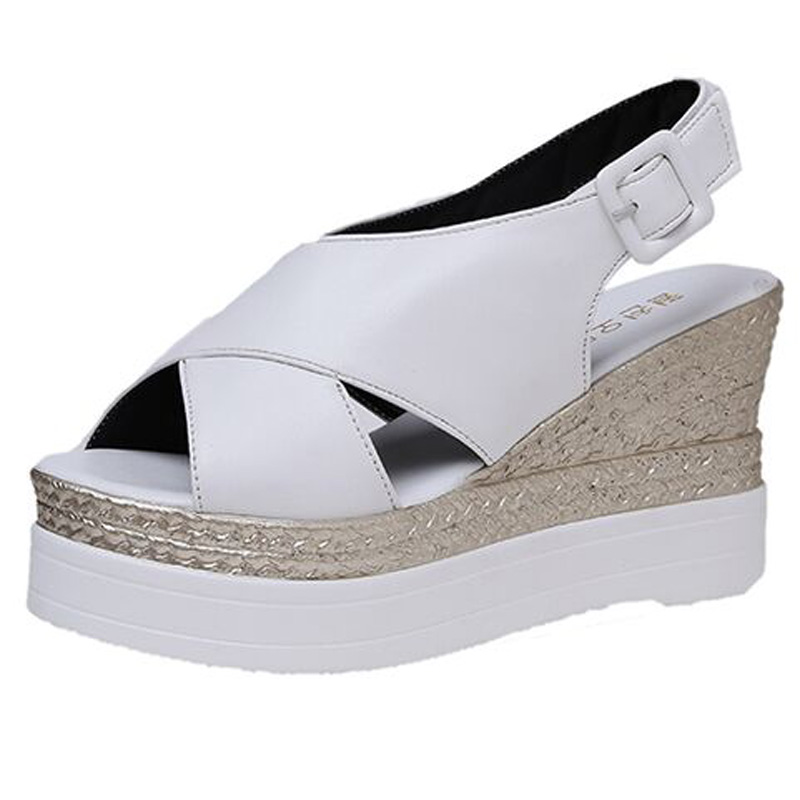 2017 Summer fashion Cross Bind High Heeled Open toe Women Sandals Thick Bottom Wedges platform women