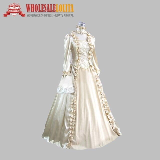 18th Century Classic British Silk like Champagne Period Dress Ball ...
