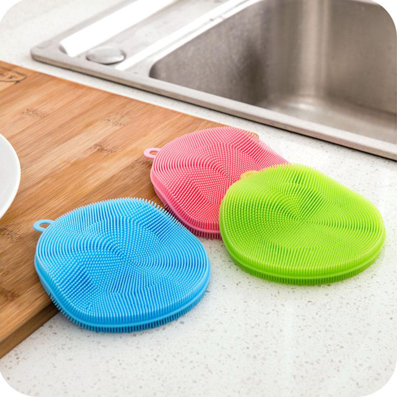 1pc Silicone Dish Wash Scrubber Vegetable Fruit Washing Practical Kitchen Cleaning Brushes for Potato Carrot Veggie