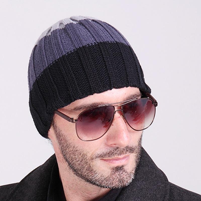 Marca gorros 2016 moda hombres sombrero de invierno gorrita tejida  casquillos ocasionales skullies patchwork sombreros para hombres en Laine  homme 39db9ddc3e4
