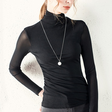 Size S-3XL Women Turtleneck Slim Soft Full Sleeve Pleated T Shirts Lady Mesh Elegant Stretchy Tops Tees For