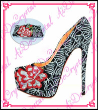 Aidocrystal Multi color beautiful wedding lady shoes and bags/shoe and bag set