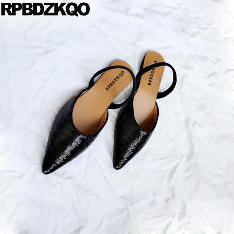 Wedding 2018 Sequin Sandals Chinese Ladies Beautiful Flats Shoes Black  Women Glitter Slingback Silver Bling Pointed 587c2ac79558