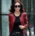 Кожаная куртка женщин пальто тонкий байкер мотоциклов мягкий молния девушка кожа Jaquetas де Couro feminina женская одежда Z909