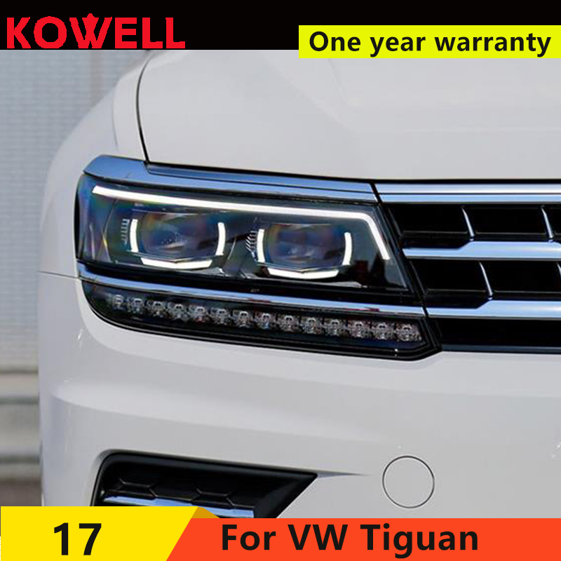 KOWELL Car Styling for VW Tiguan Headlights 2017 New Tiguan LED Headlight LED DRL Bi Xenon Lens Headlight High Low Beam Parking image