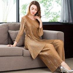 LANMREM 2020 Новая летняя модная женская одежда с круглым вырезом и длинными рукавами, плиссированный блестящий топ и широкие штаны WH01101