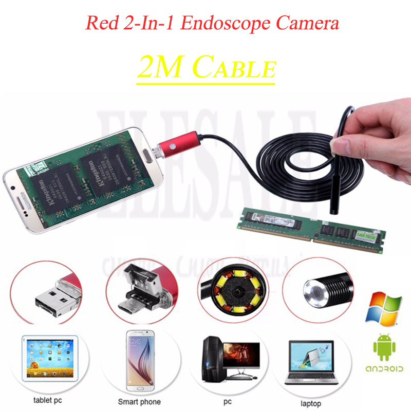2M Red 2-In-1 New Endoscope Camera Connector Android Borescope Inspection Camera For Car Repairing Pipe Examine Windows PC