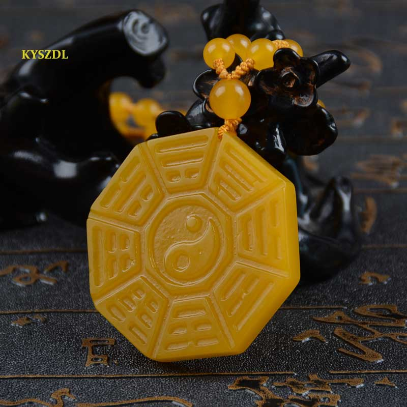 KYSZDL Natural Yellow yu stone Hand Carved Yin-Yang gossip Pendant Men and Women stone Necklace Pendant Jewelry gifts free rope