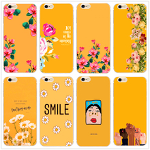 Yellow Floral Art classic hard clear phone Case cover for Samsung s8 s9plus S6 S7Edge for iPhone 7 6s 8plus 5 5c 4 X XS XR XSMAX simple classic bumper frame case for iphone 5c yellow transparent