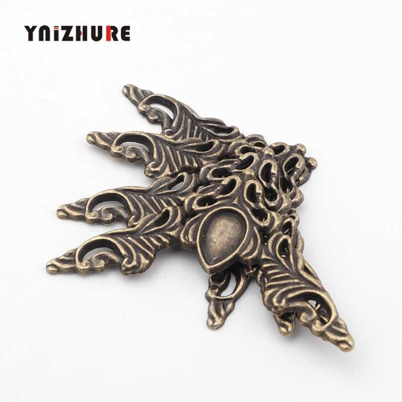 40*40mm 4Pcs Filigree Triangle Flower Wraps Cabochon,Ancient Bronze Tone Corner,Flatback Metal Embellishments Scrapbooking