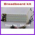 3 unids/lote kit Breadboard 3.3 V/5 V módulo de fuente de alimentación Breadboard Breadboard + 830 + 65 unids Flexible cable de puente Envío Gratis