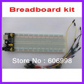 3pcs/lot Breadboard kit 3.3V/5V Breadboard power supply module + Breadboard 830 + 65pcs Flexible jumper wire Free Shipping