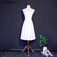 JANCEMBER 2019 New Light Luxury Cocktail Dresses Halter Neck Sleeve Lace Ruched Backless Zipper Back Simple cocktail dress party